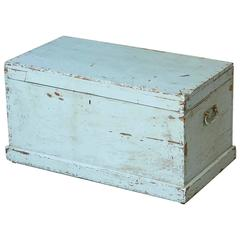 Late 19th Century Grey-Blue Painted Blanket Chest