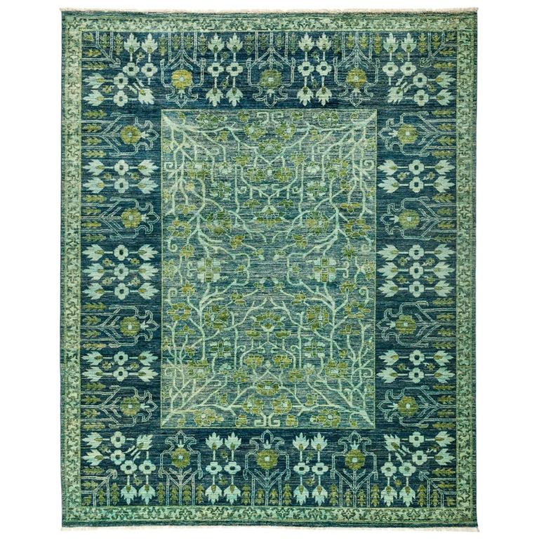 Ivory Wool And Silk Persian Naein Area Rug For Sale At 1stdibs: Green Eclectic Area Rug, Solo Rugs For Sale At 1stdibs