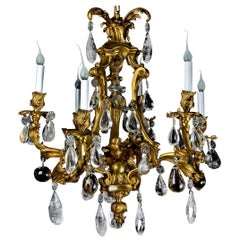 Antique French Louis XVI Style Gilt Bronze and Rock Crystal Parrot Chandelier