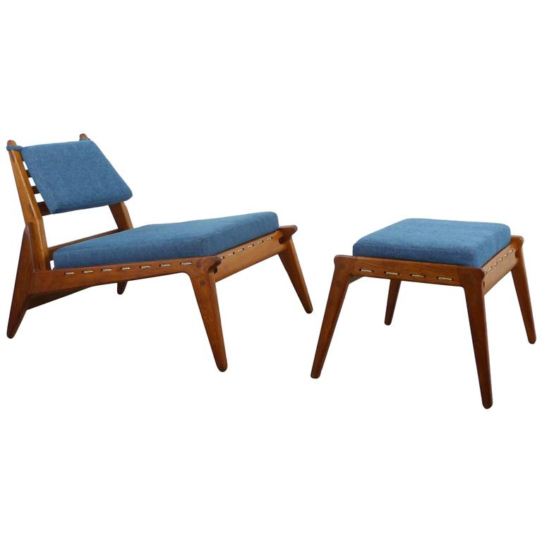 Low Lounge Chair with Ottoman from Germany, 1950s