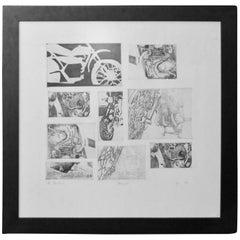 Harley Davidson Motorcycle Lithograph