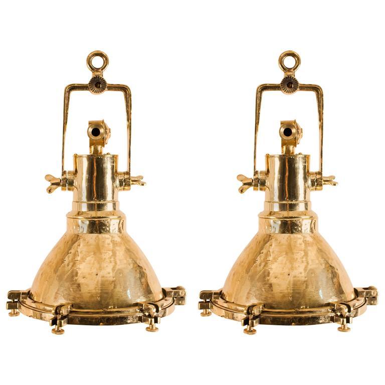 Pair of Mid-20th Century Brass Maritime Pendants