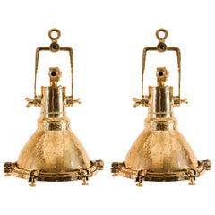 Pair of Vintage Brass Maritime Pendant Lights