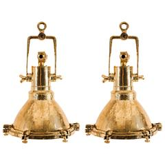 Pair of Vintage Brass Maritime Pendant Lights