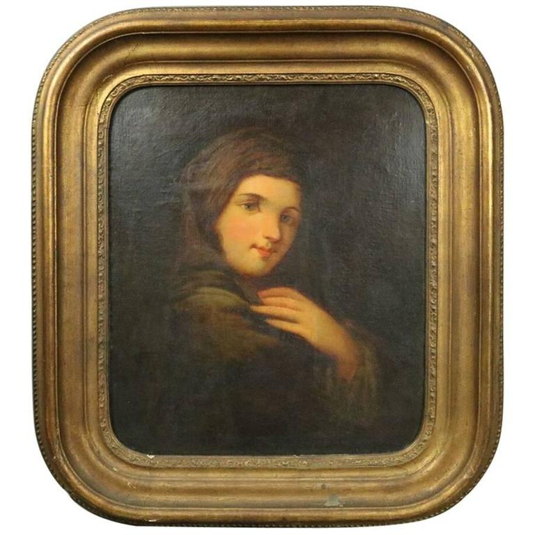 Antique Oil on Canvas Painting of Russian Maiden, 19th Century For Sale