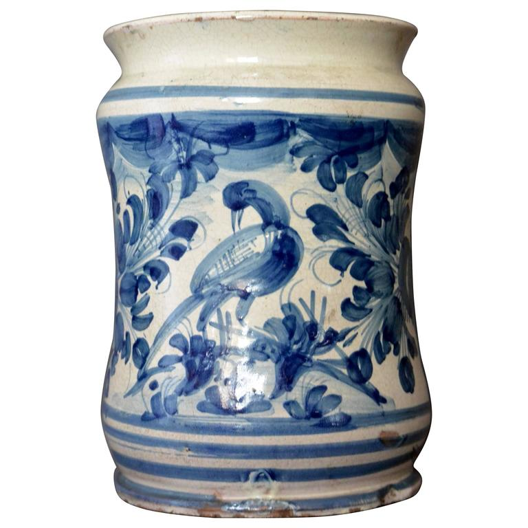 Blue and White Albarello Bird Vase
