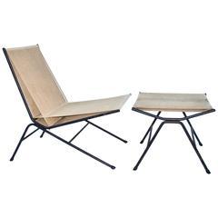 "Original Allan Gould ""Bow"" Chair and Ottoman"