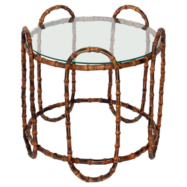 Elegant Bamboo Side Table in the Manner of Jacques Adnet For Sale