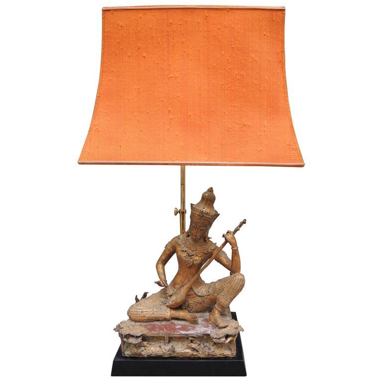 Vintage Thai Gilt Buddha Figure Lamp with the Original Pagoda Silk Shade