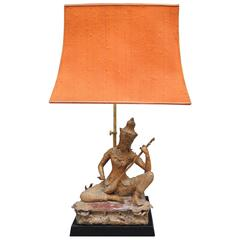 Vintage Thai Gilt Buddha Figure Lamp with the Original Pagoda Silk Shade