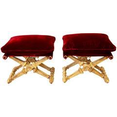 Pair of Louis XVI Style Stools