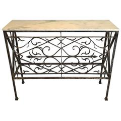 Wrought Iron and Onyx Top Console