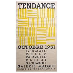 "Rare Ellsworth Kelly 1951 Galerie Maeght Screen Print Poster ""Tendance"""