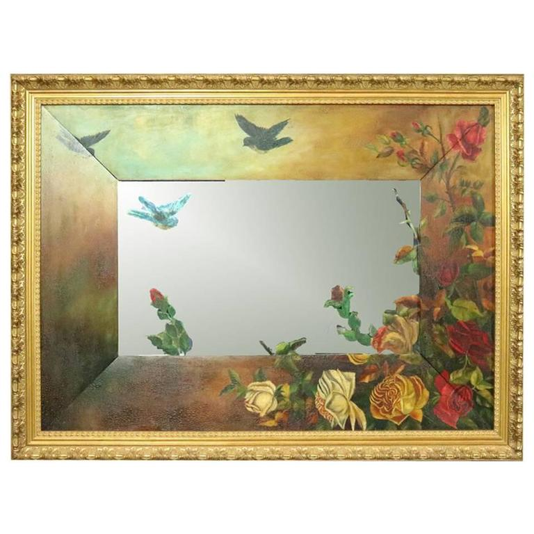 Antique Aesthetic Movement Hand-Painted Wall Mirror ...