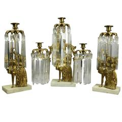 Set of Three Antique French Classical Gilt Metal and Crystal Figural Girandoles