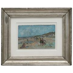 Beach Scene Impressionist Oil Painting by Serge Sauvage
