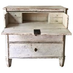 19th Century Swedish Gustavian Chest of Drawers with Fall-Front Top Drawer