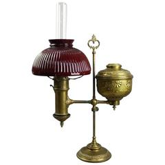 Antique Miller Lamp Co. Embossed Brass Student Lamp, circa 1880