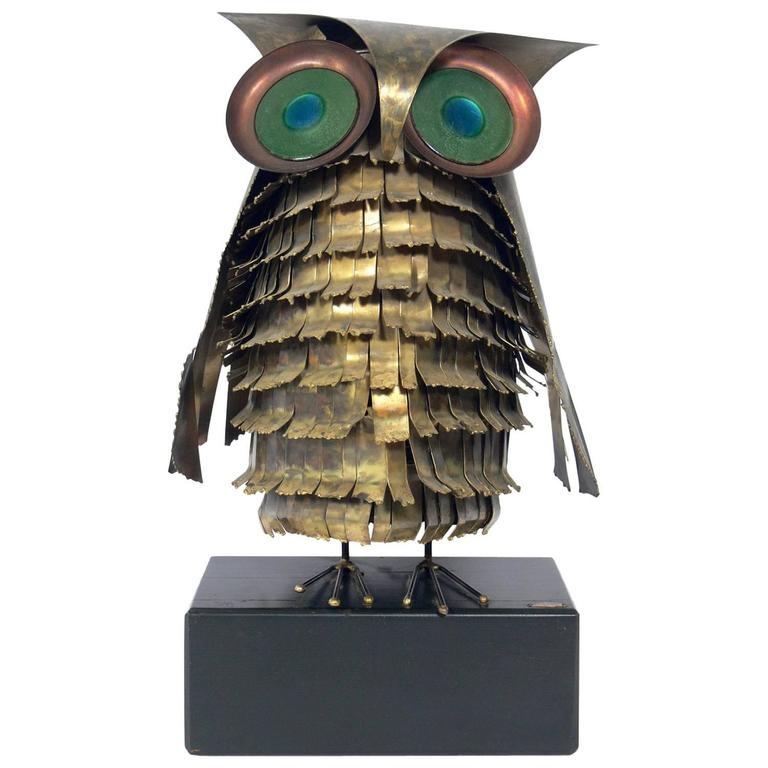 Whimsical Owl Sculpture by Curtis Jere