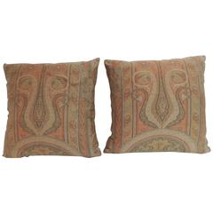 Pair of 19th Century Kashmir Woven Paisley Decorative Pillows
