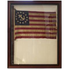 Authentic Linen Stars and Stripes with Anchor Flag