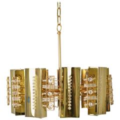 Continental Brass and Crystal Chandelier, circa 1970's