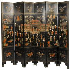 19th Century Black Lacquer Chinese Folding Screen