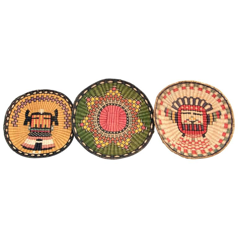 Three Native American Woven Wicker Plaques, Hopi \'Pueblo\' at 1stdibs