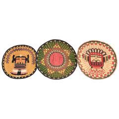 Three Native American Woven Wicker Plaques, Hopi 'Pueblo'