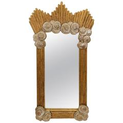 Dramatic Silver and Gold Leafed Art Deco Style Mirror