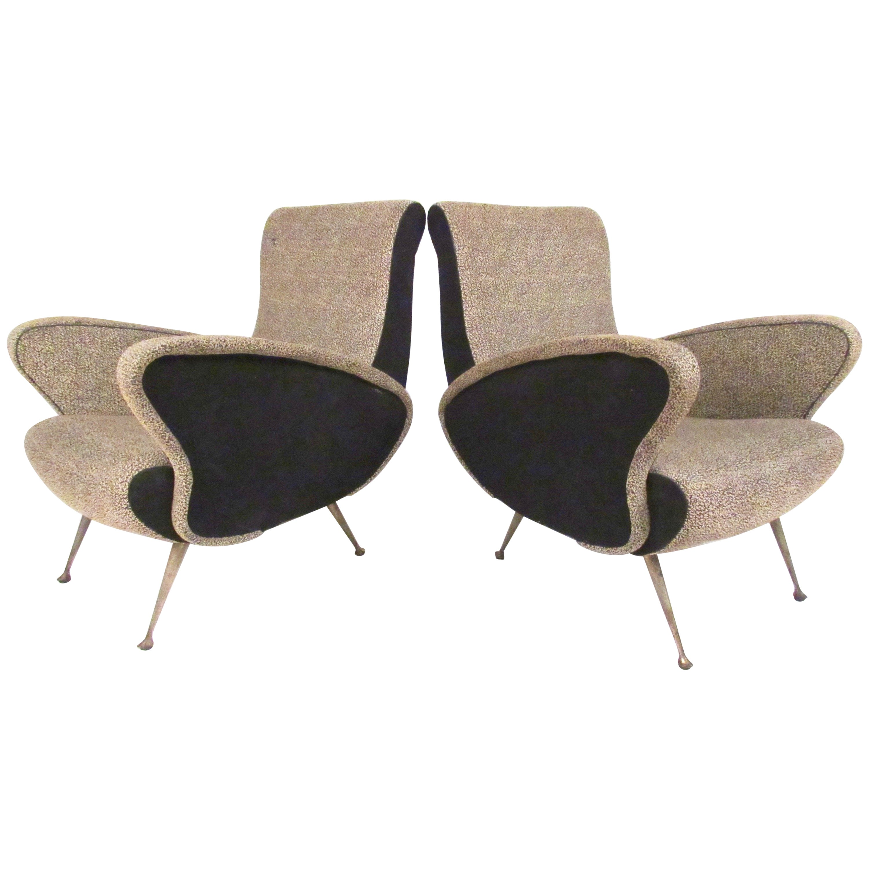 Pair of Italian Modern Sculptural Lounge Chairs
