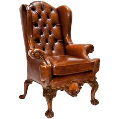 Exceptional 19th Century Walnut Leather Wing Back Armchair