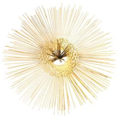 Brutalist Golden Radiating Sunburst with Spoke Centre Wall Sculpture