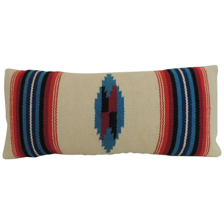 Southwestern Lumbar Pillow : Vintage Petite Southwestern Woven Wool Decorative Lumbar Pillow For Sale at 1stdibs