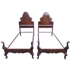 Pair of 1920s Queen Anne Style Mahogany Single Bed Frames