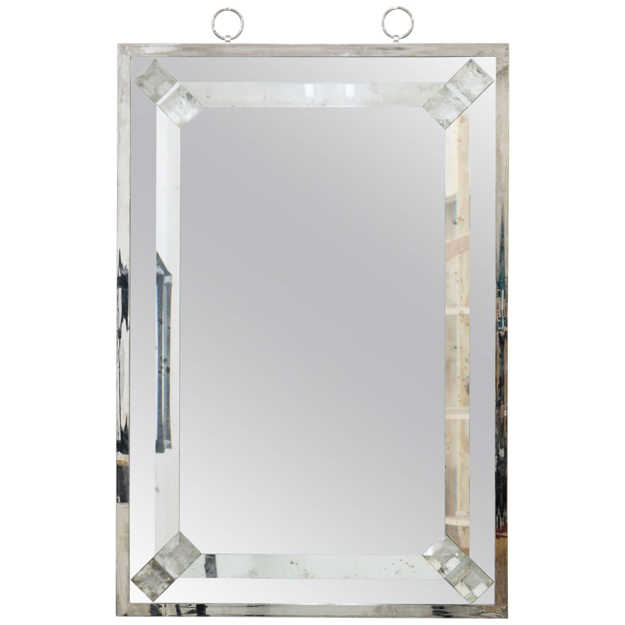 Elegant Mirror with Rock Crystal by Andre Hayat