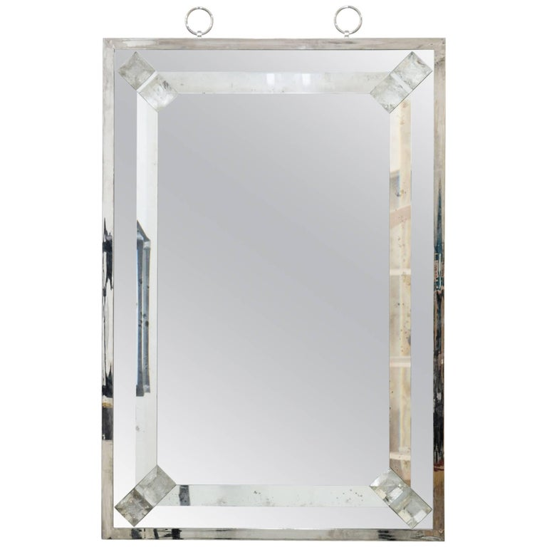 Elegant Mirror with Rock Crystal by Andre Hayat For Sale