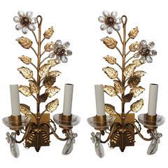 Wonderful Pair Bagues Floral Gilt Crystal Floral Bow Vintage Mid Century Sconces