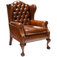 quality 19th century mahogany tuffed leather wing back armchair