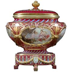 19th Century Covered Royal Vienna Urn with Painted with Gilt Mounts
