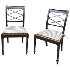 Pair of 20th Century Ebonized Regency Style Side Chairs