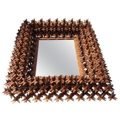 "Tramp Art ""Crown of Thorns"" Framed Mirror, 19th Century"