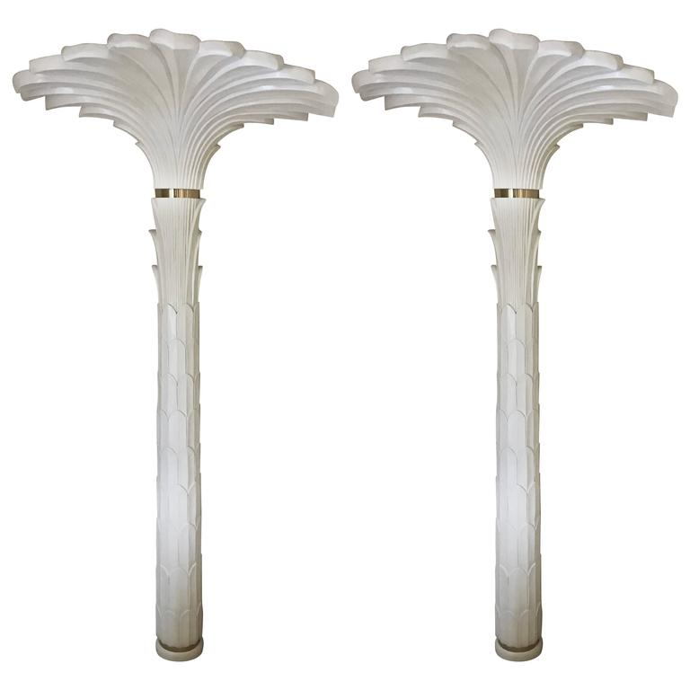 Pair of Serge Roche Style Sconces in Stylized Palm Motif For Sale