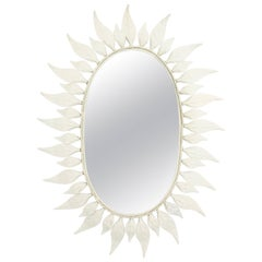 Mid-Century Modern Oval Shaped Leafed White Painted Iron Sunburst Mirror