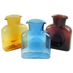 Mid-Century Set of Three Double Spouted Pitchers Decanters by Blenko Glass