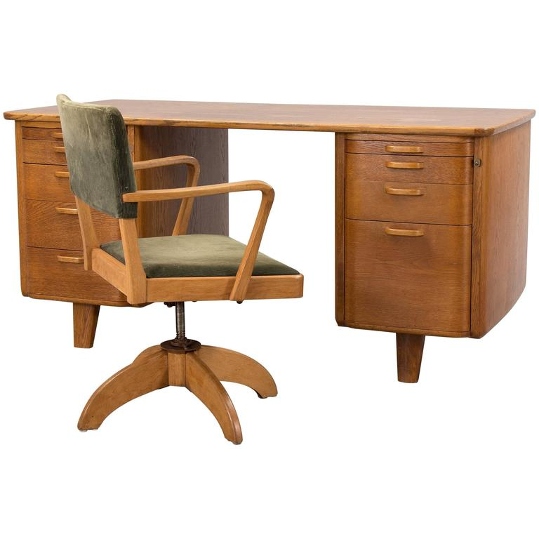 Swedish Art Deco Desk And Swivel Chair By Gunnar Ericsson For Facit Atvidaberg