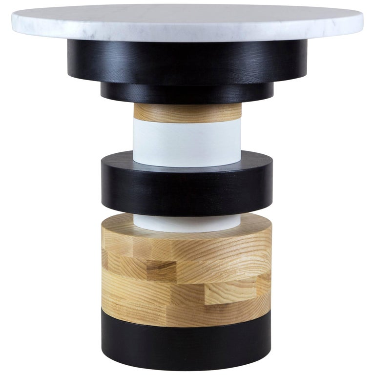 Customizable Short Sass Side Table from Souda, Large Marble Top, Made to Order For Sale