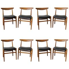 Set of Eight Teak Chairs by Hans Wegner in Black Leather, Model W2