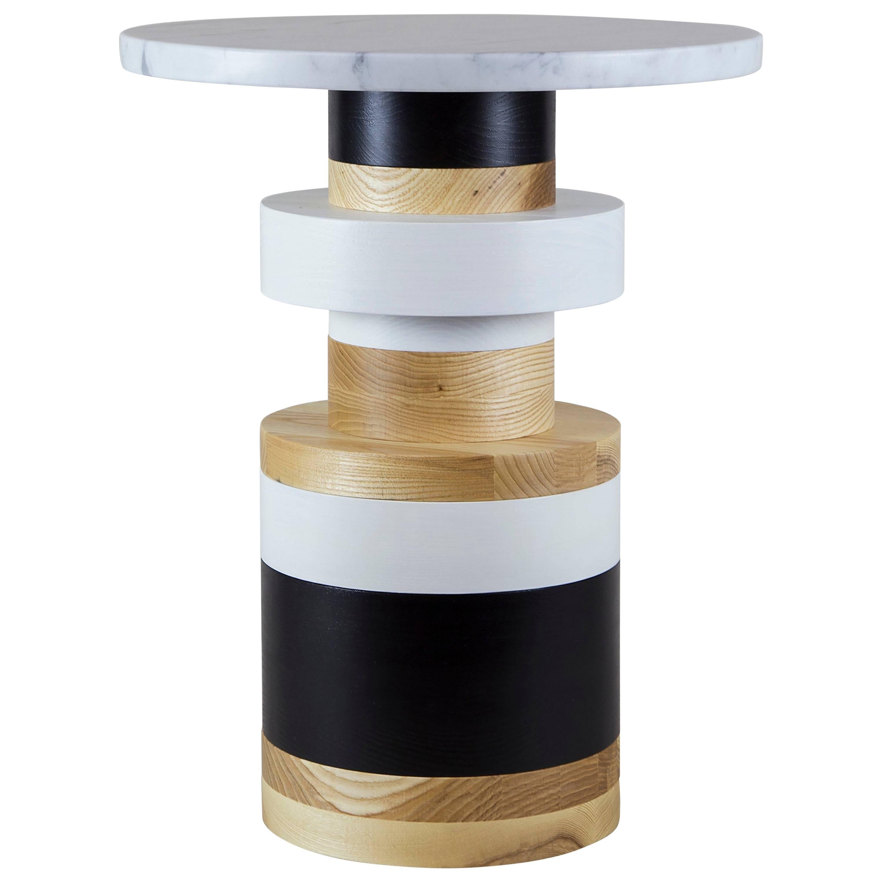 Customizable Medium Sass Side Table from Souda, Small Marble Top, Made to Order