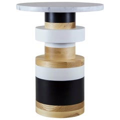 Medium Sass Side Table from Souda, Small Marble Top, Made to Order